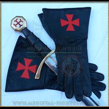 Leather Gauntlet Gloves - Templar Brother Crusader